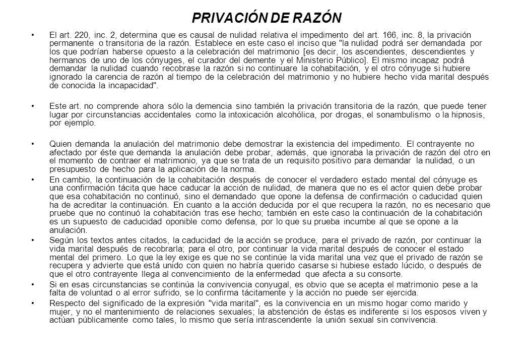 PRIVACIÓN DE RAZÓN