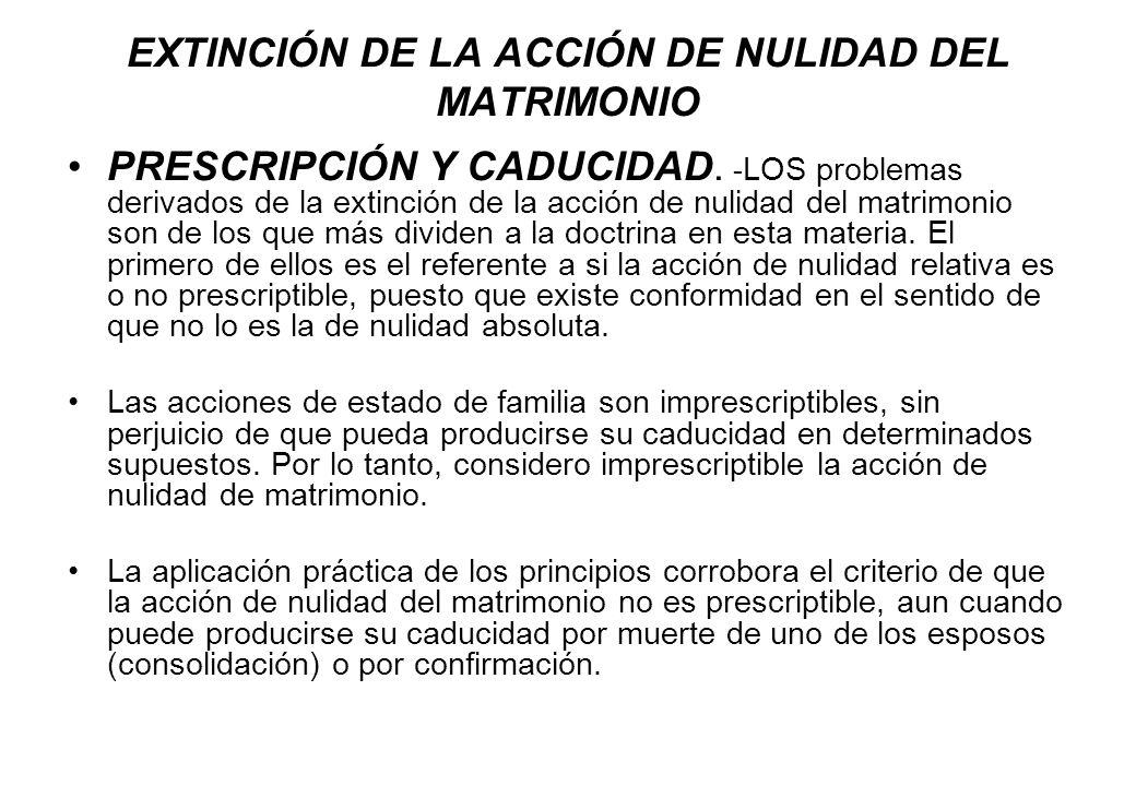 EXTINCIÓN DE LA ACCIÓN DE NULIDAD DEL MATRIMONIO