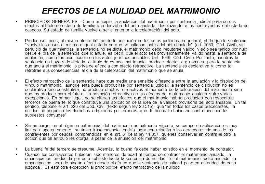 EFECTOS DE LA NULIDAD DEL MATRIMONIO