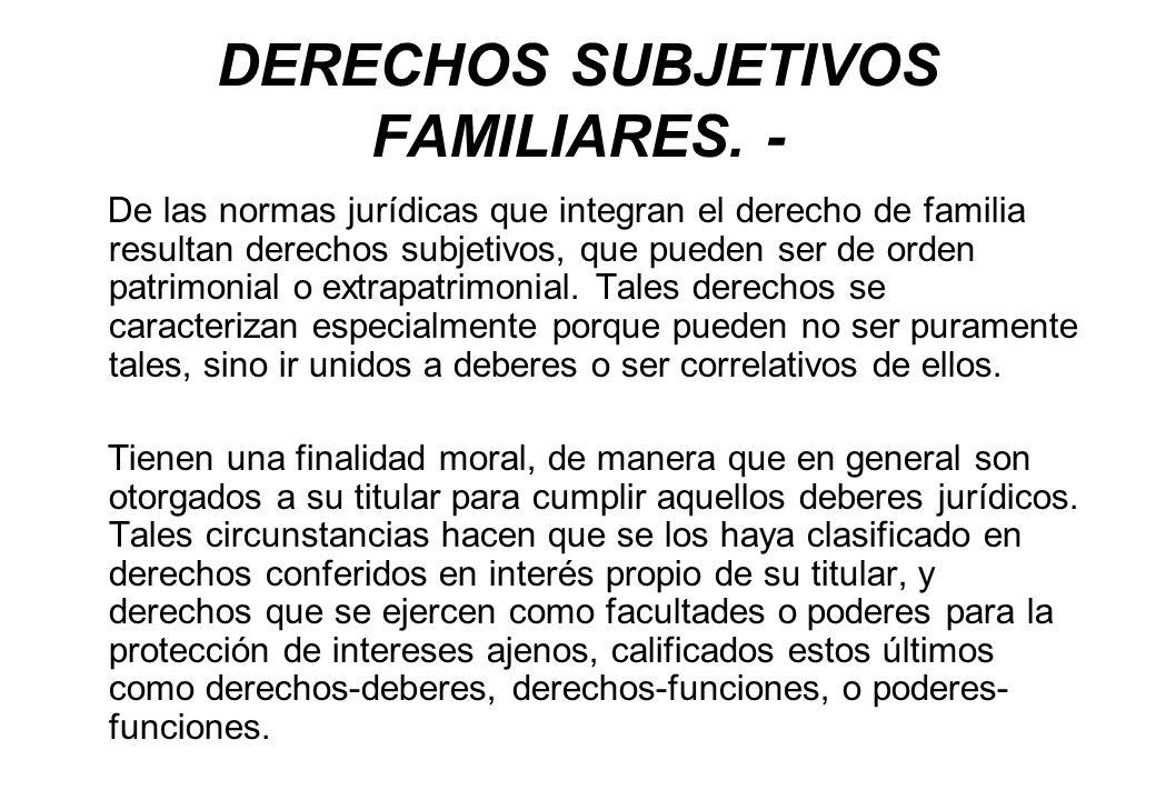 DERECHOS SUBJETIVOS FAMILIARES. -