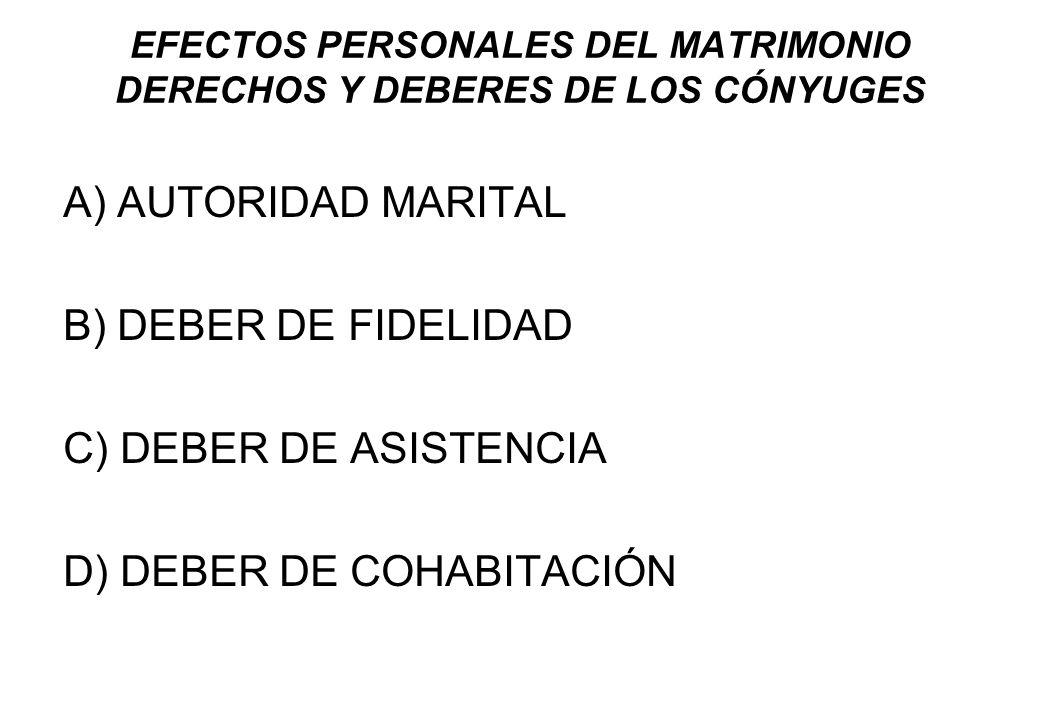 EFECTOS PERSONALES DEL MATRIMONIO DERECHOS Y DEBERES DE LOS CÓNYUGES