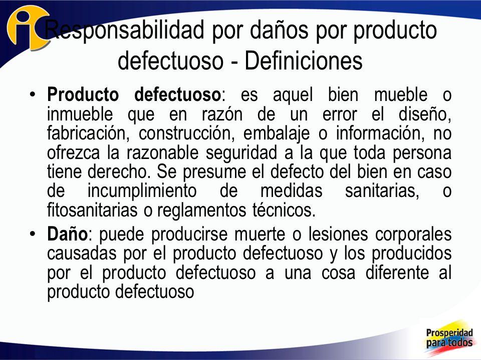Responsabilidad por daños por producto defectuoso - Definiciones