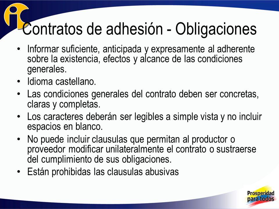Contratos de adhesión - Obligaciones