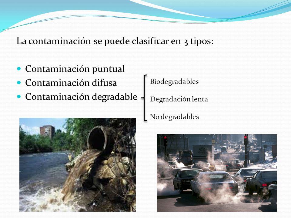 La contaminación se puede clasificar en 3 tipos: Contaminación puntual