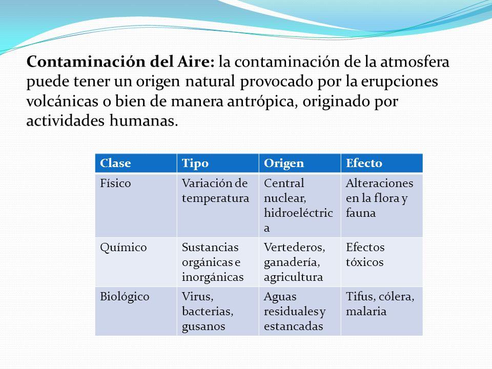 Contaminación del Aire: la contaminación de la atmosfera puede tener un origen natural provocado por la erupciones volcánicas o bien de manera antrópica, originado por actividades humanas.