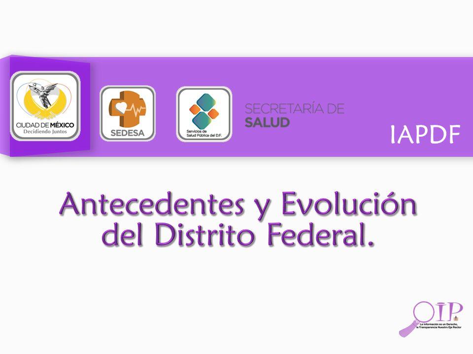 Antecedentes y Evolución del Distrito Federal.