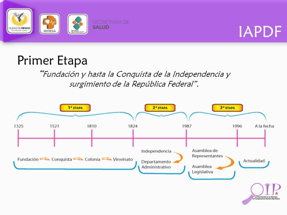 Primer Etapa Fundación y hasta la Conquista de la Independencia y surgimiento de la República Federal .