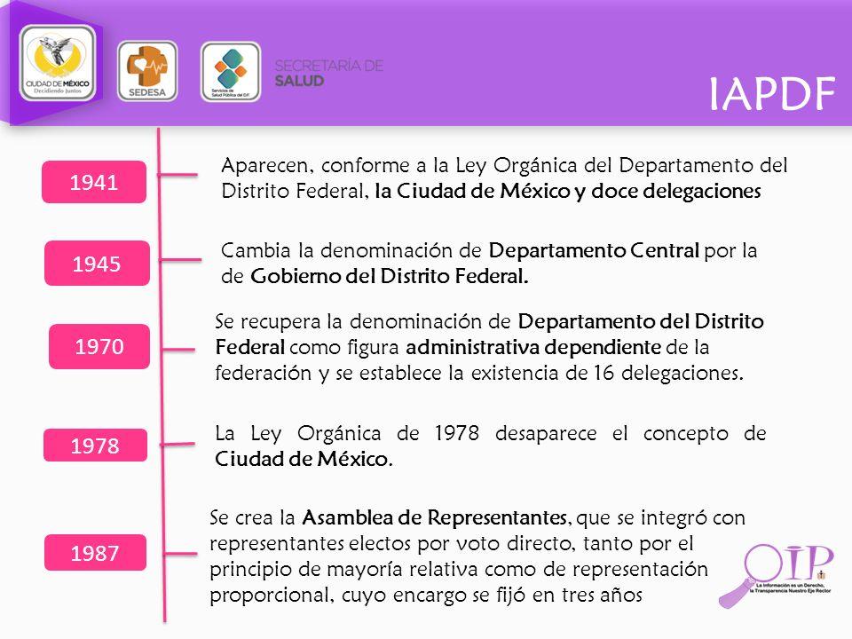 Aparecen, conforme a la Ley Orgánica del Departamento del Distrito Federal, la Ciudad de México y doce delegaciones