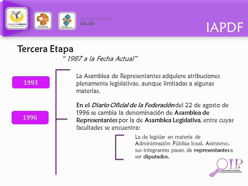Tercera Etapa 1987 a la Fecha Actual 1993 1996