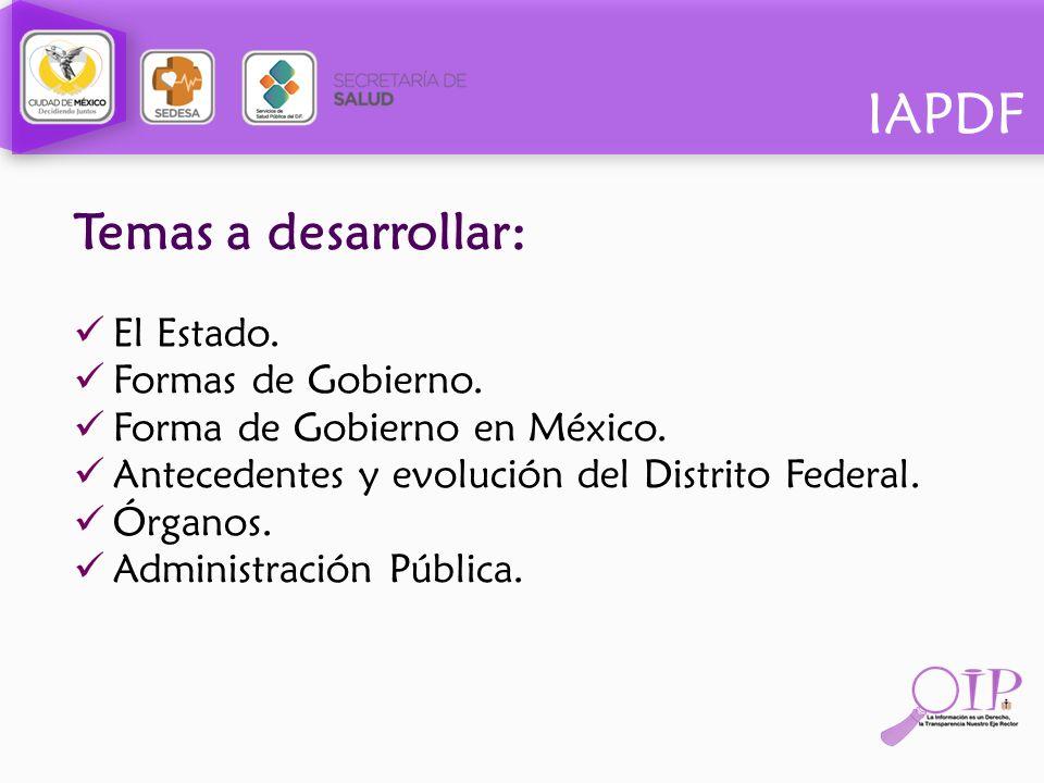 Temas a desarrollar: El Estado. Formas de Gobierno.