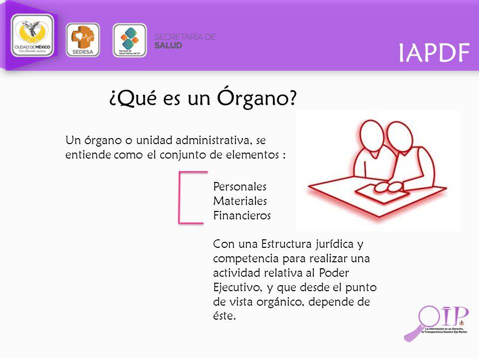 ¿Qué es un Órgano Un órgano o unidad administrativa, se entiende como el conjunto de elementos : Personales.