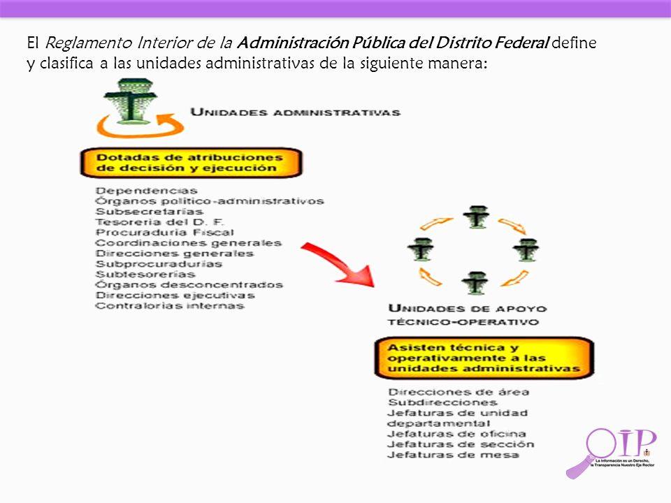 El Reglamento Interior de la Administración Pública del Distrito Federal define y clasifica a las unidades administrativas de la siguiente manera: