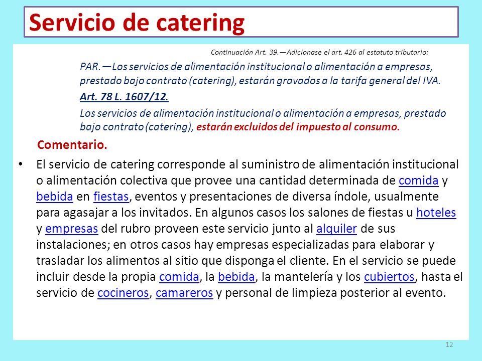 Servicio de catering Comentario.