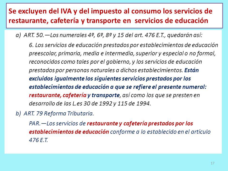 Se excluyen del IVA y del impuesto al consumo los servicios de restaurante, cafetería y transporte en servicios de educación