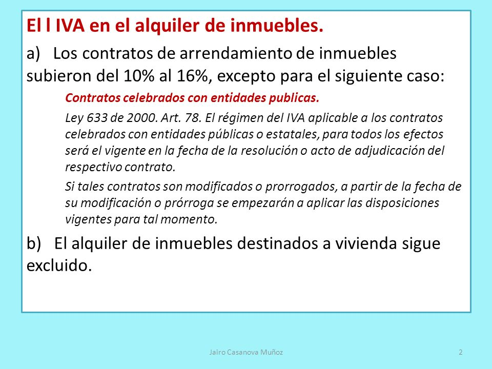 El l IVA en el alquiler de inmuebles.
