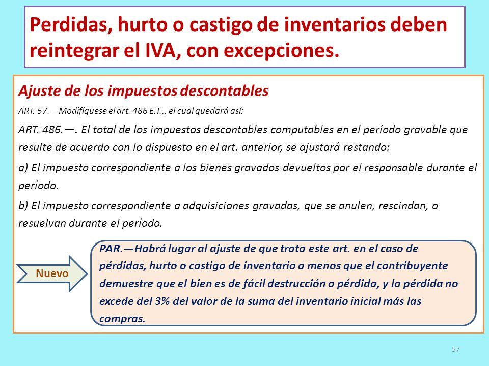 Perdidas, hurto o castigo de inventarios deben reintegrar el IVA, con excepciones.