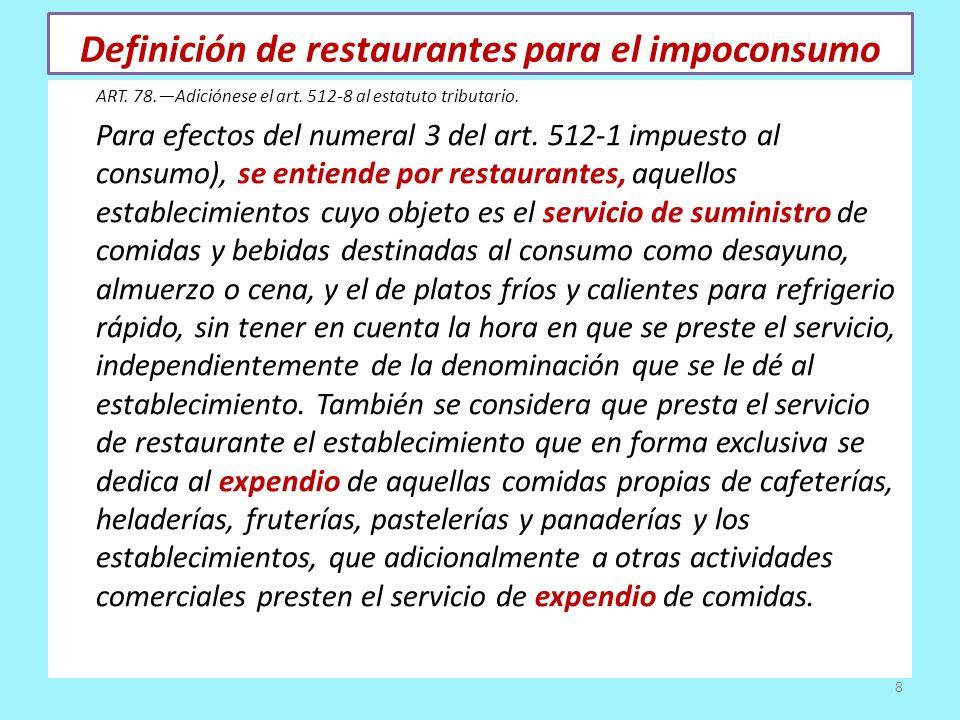 Definición de restaurantes para el impoconsumo