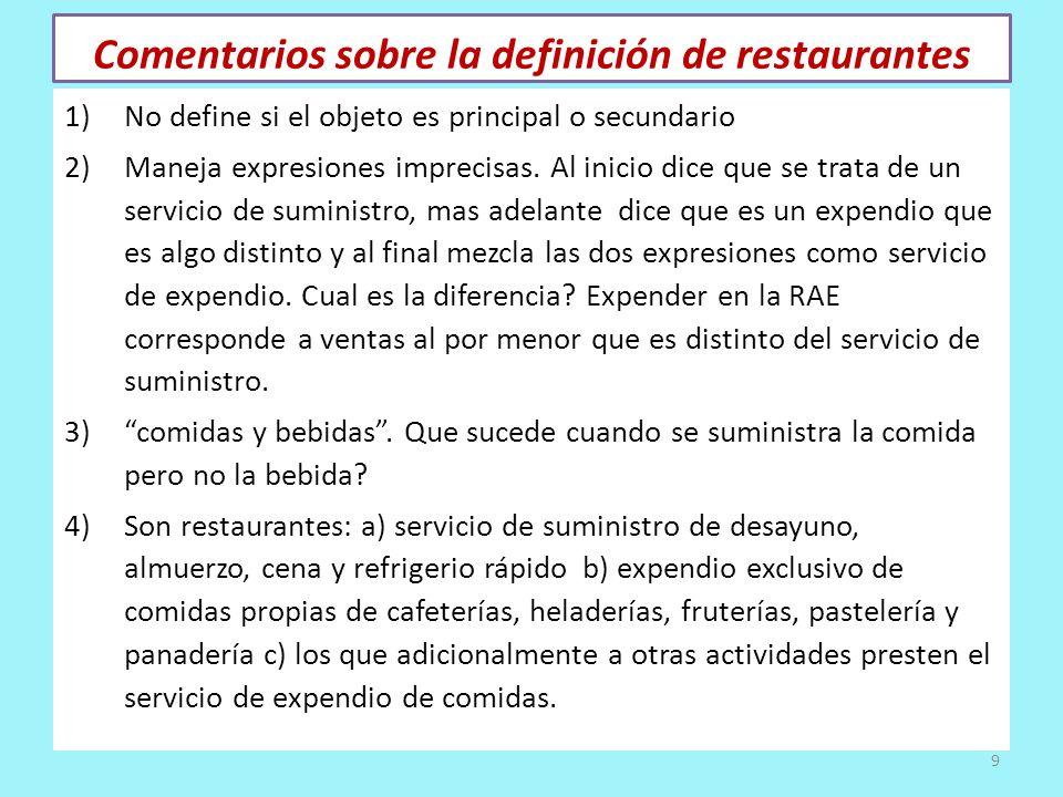 Comentarios sobre la definición de restaurantes