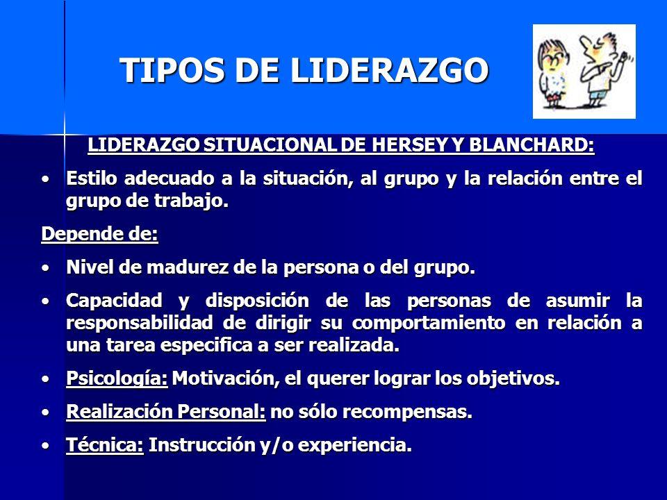 LIDERAZGO SITUACIONAL DE HERSEY Y BLANCHARD: