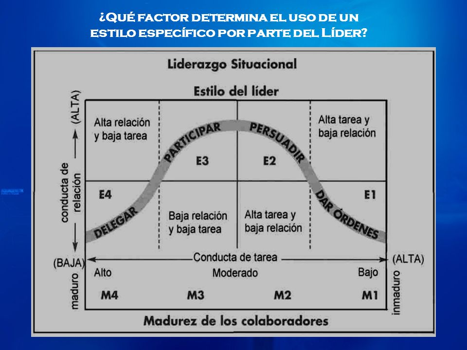 ¿Qué factor determina el uso de un estilo específico por parte del Líder