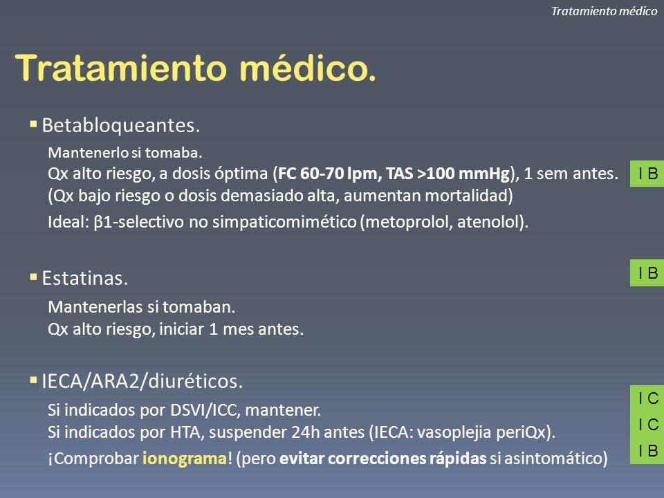 Tratamiento médico. Betabloqueantes. Estatinas. IECA/ARA2/diuréticos.