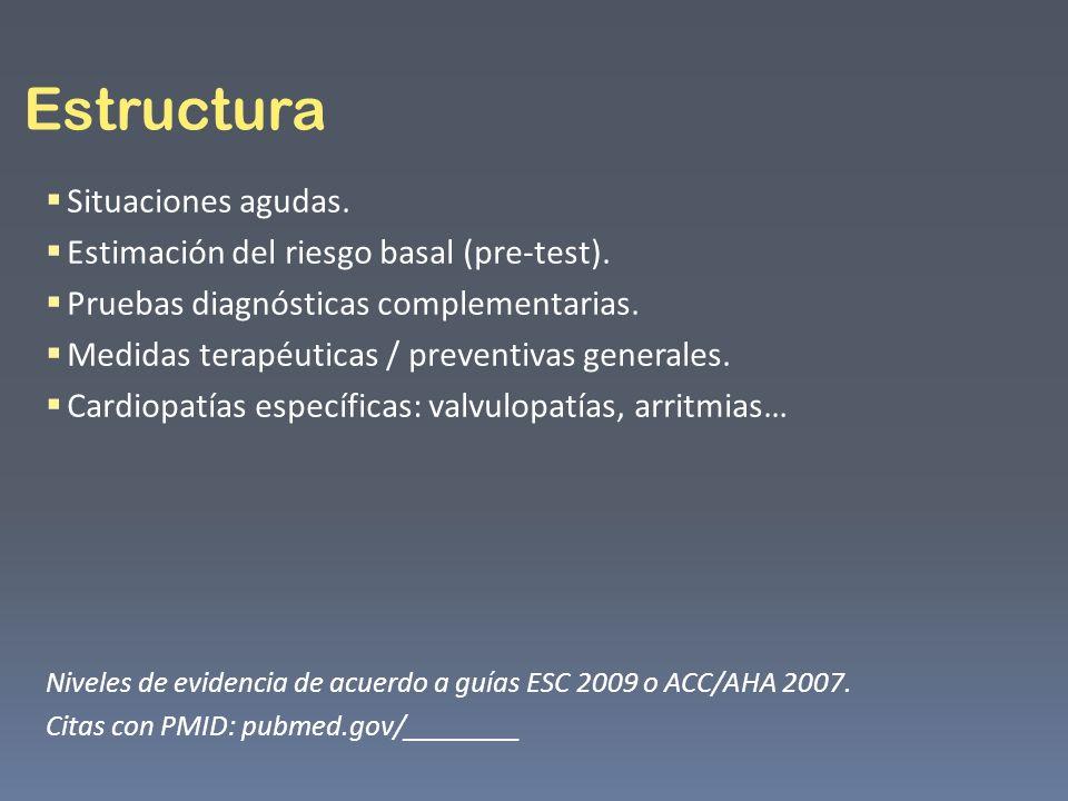 Estructura Situaciones agudas. Estimación del riesgo basal (pre-test).