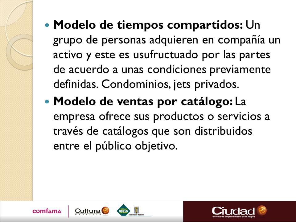 Modelo de tiempos compartidos: Un grupo de personas adquieren en compañía un activo y este es usufructuado por las partes de acuerdo a unas condiciones previamente definidas. Condominios, jets privados.