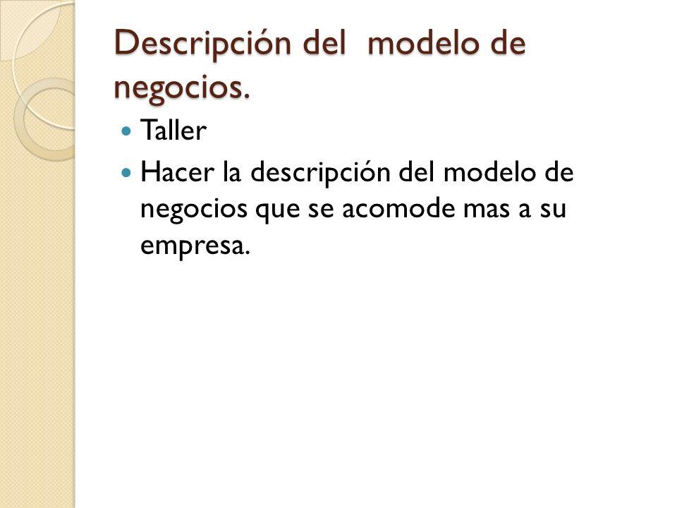 Descripción del modelo de negocios.
