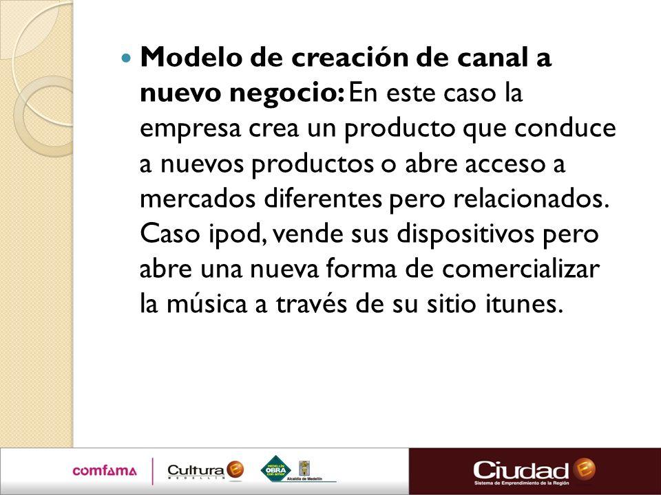 Modelo de creación de canal a nuevo negocio: En este caso la empresa crea un producto que conduce a nuevos productos o abre acceso a mercados diferentes pero relacionados.
