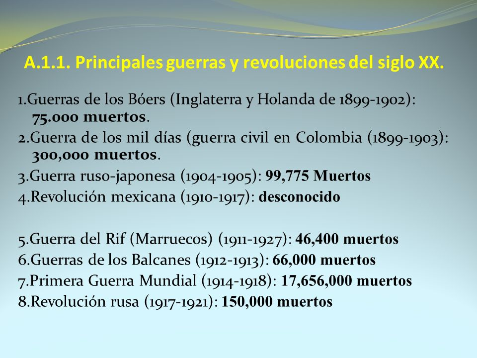 A.1.1. Principales guerras y revoluciones del siglo XX.
