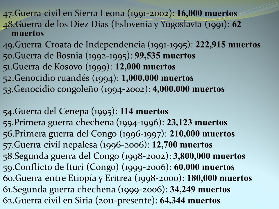 47. Guerra civil en Sierra Leona (1991-2002): 16,000 muertos 48