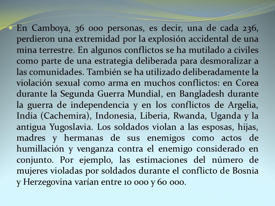 En Camboya, 36 000 personas, es decir, una de cada 236, perdieron una extremidad por la explosión accidental de una mina terrestre.
