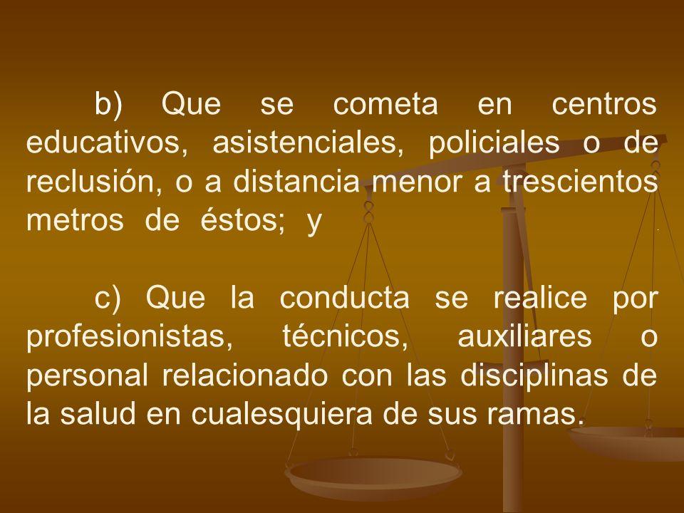 b) Que se cometa en centros educativos, asistenciales, policiales o de reclusión, o a distancia menor a trescientos metros de éstos; y .