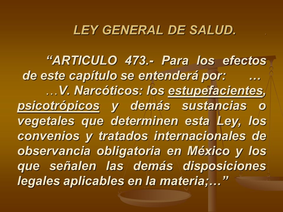 LEY GENERAL DE SALUD. ARTICULO 473