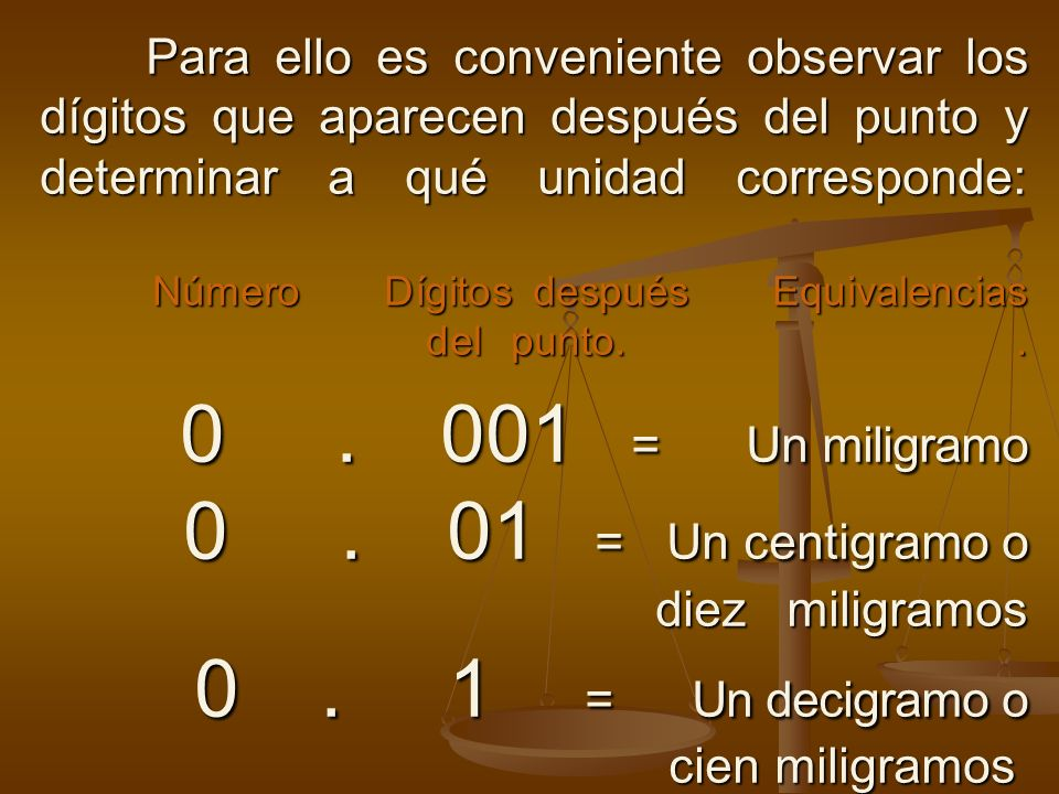 Para ello es conveniente observar los dígitos que aparecen después del punto y determinar a qué unidad corresponde: Número Dígitos después Equivalencias del punto.
