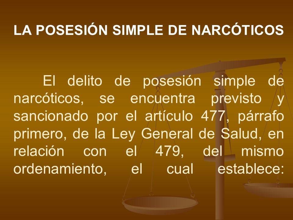 LA POSESIÓN SIMPLE DE NARCÓTICOS