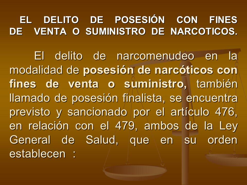 EL DELITO DE POSESIÓN CON FINES DE VENTA O SUMINISTRO DE NARCOTICOS