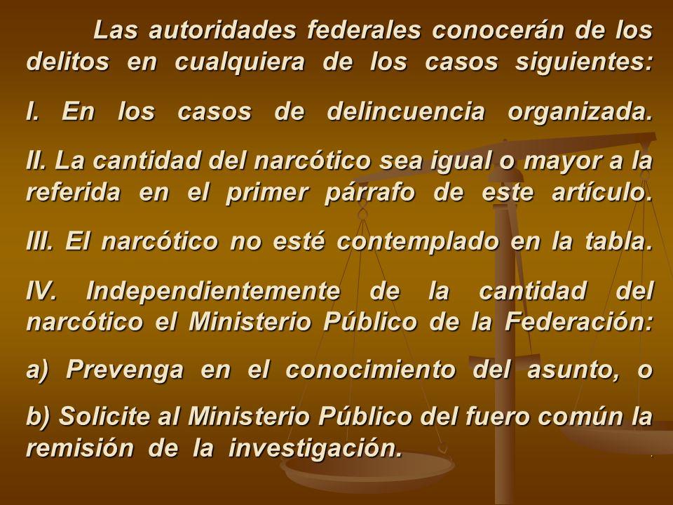 Las autoridades federales conocerán de los delitos en cualquiera de los casos siguientes: I.