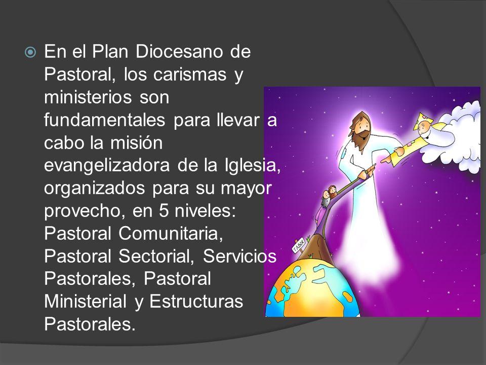 En el Plan Diocesano de Pastoral, los carismas y ministerios son fundamentales para llevar a cabo la misión evangelizadora de la Iglesia, organizados para su mayor provecho, en 5 niveles: Pastoral Comunitaria, Pastoral Sectorial, Servicios Pastorales, Pastoral Ministerial y Estructuras Pastorales.