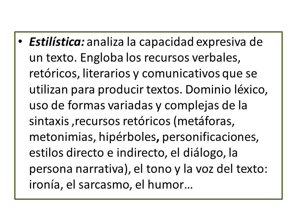 Estilística: analiza la capacidad expresiva de un texto