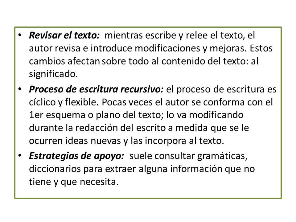 Revisar el texto: mientras escribe y relee el texto, el autor revisa e introduce modificaciones y mejoras. Estos cambios afectan sobre todo al contenido del texto: al significado.