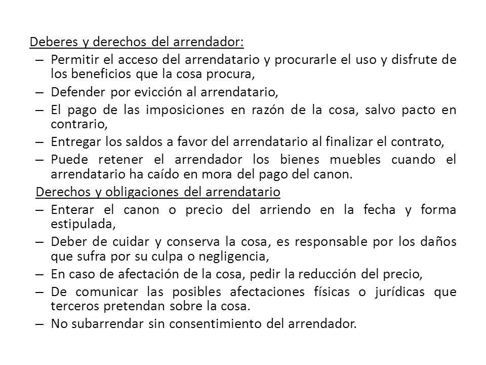 Deberes y derechos del arrendador: