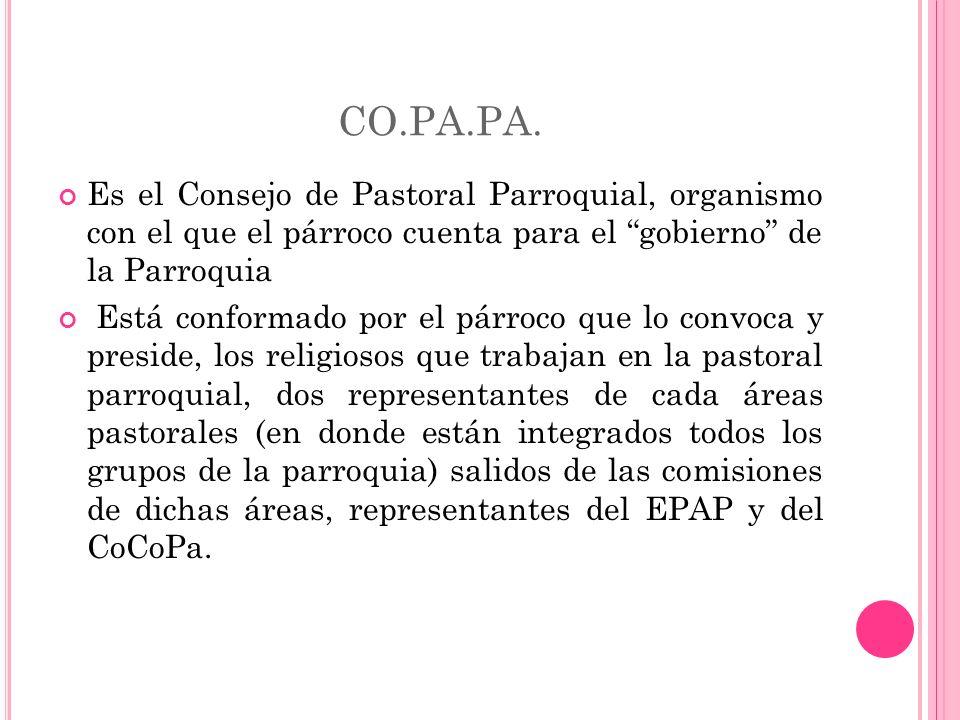 CO.PA.PA. Es el Consejo de Pastoral Parroquial, organismo con el que el párroco cuenta para el gobierno de la Parroquia.