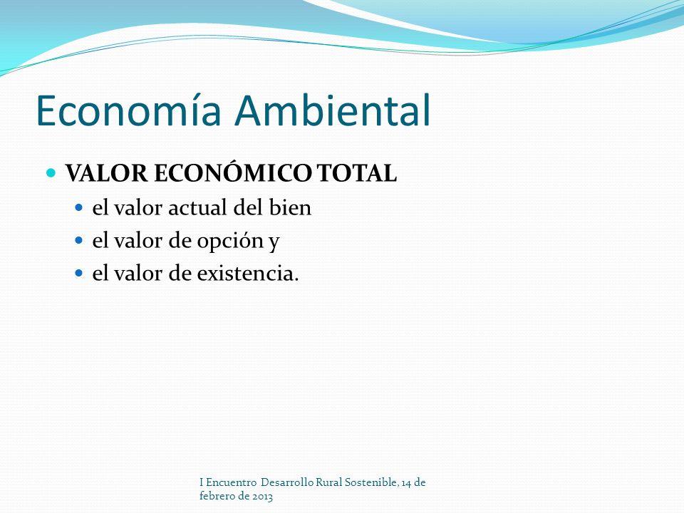 Economía Ambiental VALOR ECONÓMICO TOTAL el valor actual del bien