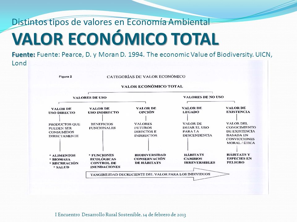 Distintos tipos de valores en Economía Ambiental VALOR ECONÓMICO TOTAL Fuente: Fuente: Pearce, D. y Moran D. 1994. The economic Value of Biodiversity. UICN, Londres