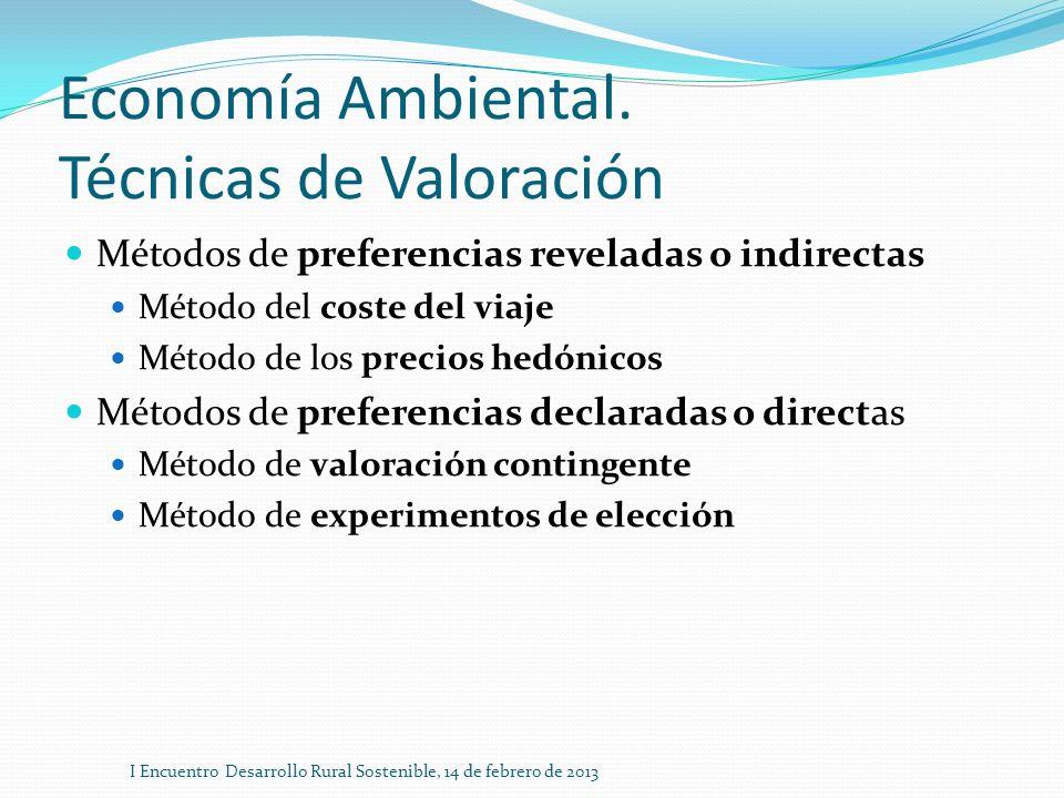 Economía Ambiental. Técnicas de Valoración