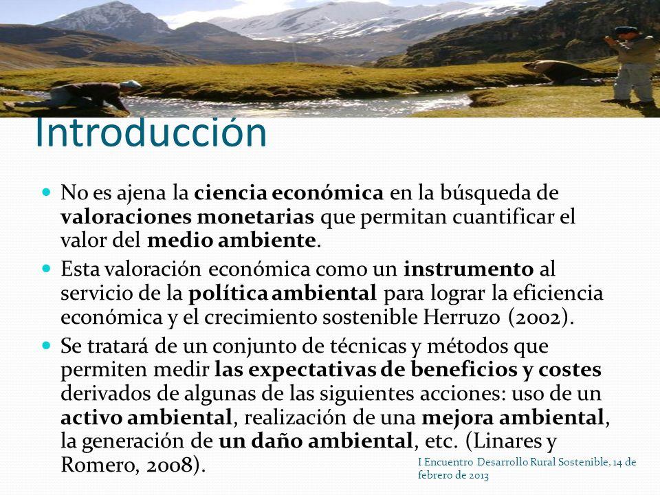 Introducción No es ajena la ciencia económica en la búsqueda de valoraciones monetarias que permitan cuantificar el valor del medio ambiente.