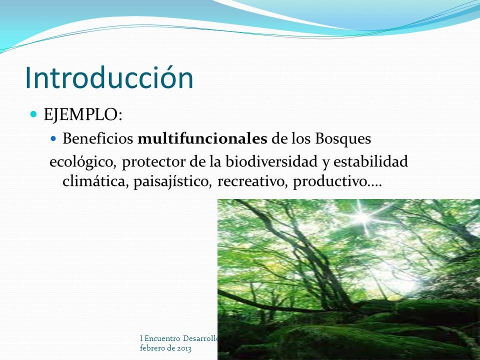 Introducción EJEMPLO: Beneficios multifuncionales de los Bosques