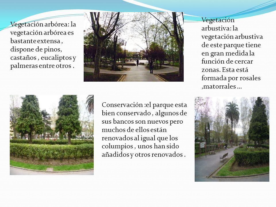 Vegetación arbustiva: la vegetación arbustiva de este parque tiene en gran medida la función de cercar zonas. Esta está formada por rosales ,matorrales …