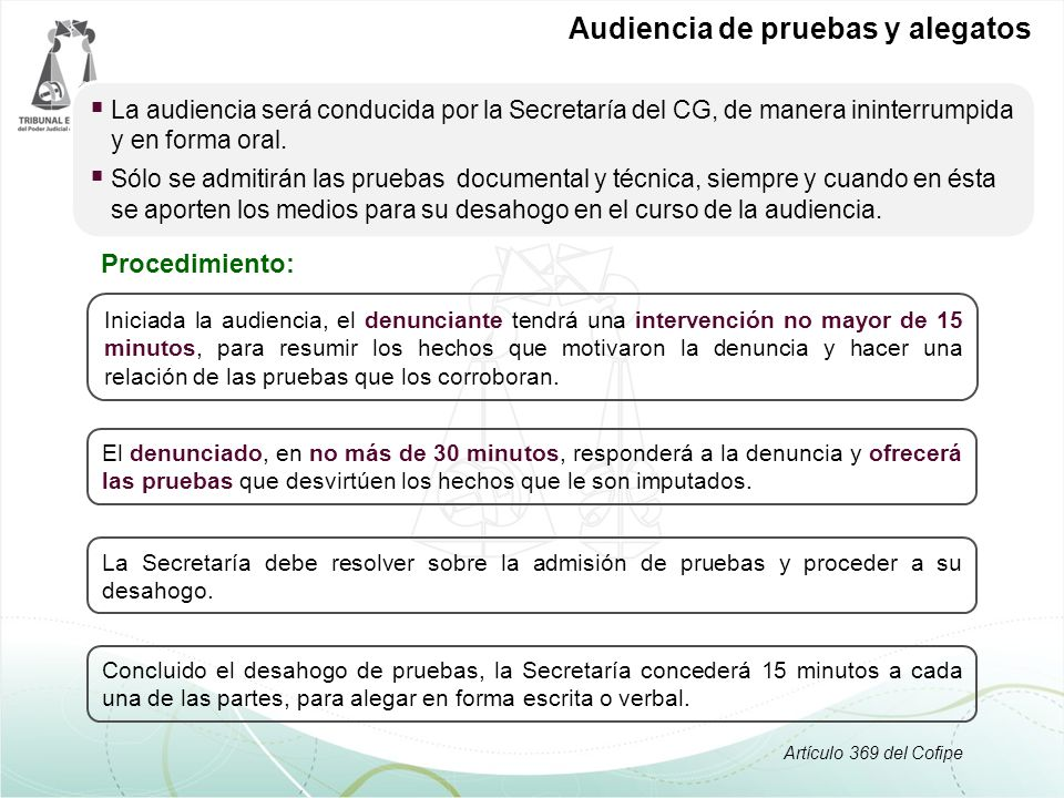Audiencia de pruebas y alegatos